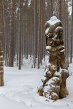 Wood sculpture in the Trans-Baikal National Park. Stock Photo