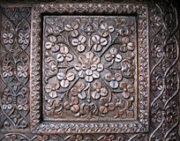 Wood sculptured door Royalty Free Stock Photos