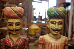 Wood sculptures in a local artisanal shop, India. Royalty Free Stock Photography