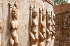 Wood sculptures, Mali. Wood sculptures near the Bandiagara Escarpment, Mali (Africa Royalty Free Stock Image