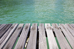 Wood and sea background. Blue sky Royalty Free Stock Photography