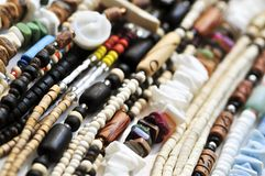 Wood and seashell bead necklaces Royalty Free Stock Image
