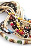 Wood and seashell bead necklaces Stock Images