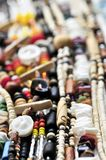 Wood and seashell bead necklaces Stock Photo