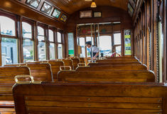 Wood Seats in Old Train Car Stock Photos