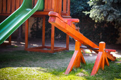 Wood seesaw with slider system Stock Photos