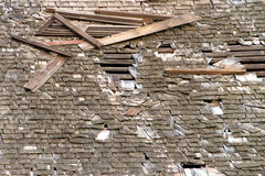 Wood shake shingle roof falling appart Stock Photo