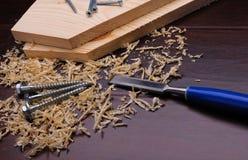 Wood shavings Arkivfoto