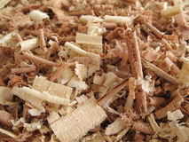 Wood Shavings 2. Close-up of brown and off-white wood shavings Stock Photos