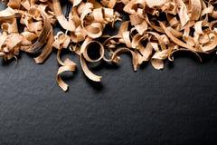Wood shavings background stock images