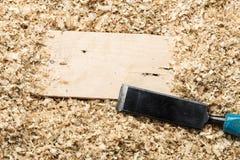 Wood shavings background stock photo