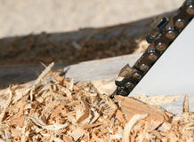 Wood shavings and chainsaw Stock Photography