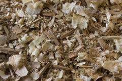Wood shavings, chips and sawdust Stock Photo