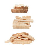 Wood shavings isolated on white Royalty Free Stock Photo