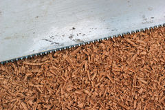 Wood shavings and saw blade texture background. Wood shavings and rusty saw blade texture background Stock Images