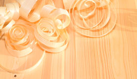Wood shavings on a table Royalty Free Stock Images