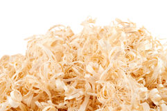 Wood shavings on white background with copy space Stock Photography