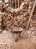 Wood Shed full of Logs. Wheelbarrow and ladder Stock Image