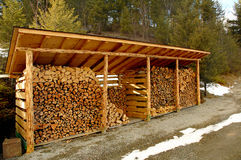 Wood shed outdoors. Shed outdoors for storing wood royalty free stock images