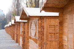 Wood sheds row. In a park Royalty Free Stock Photos