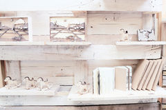 Wood shelf with book and toys Stock Images