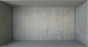 Empty blue painted wooden shelf. Wood shelf cupboard with grunge aging surface as background stock image