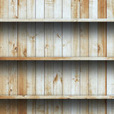Wood shelf, grunge industrial interior Stock Photos