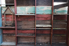 Wood shelf, grunge industrial interior Uneven diffuse lighting version Design component Royalty Free Stock Photos