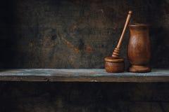Wood Shelf. Home kitchen still life, on wooden shelf royalty free stock photography