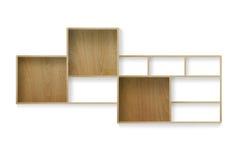 Wood shelf isolated on white Stock Image