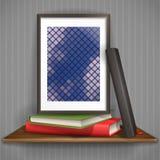Wood Shelf With Photo Frame Stock Photos