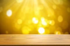 Wood shelf table on gold light bokeh background. Wood shelf table on gold light bokeh background royalty free stock photos