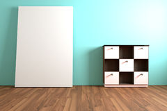 Wood Shelf and white cabinet Furniture with white blank in Empty Stock Photography