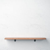 Wood shelf on white wall Royalty Free Stock Image