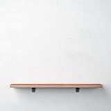 Wood shelf on white wall stock illustration