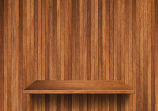 Wood shelf on wood wall Royalty Free Stock Images