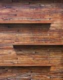 Wood shelf on wooden wall. Empty wood shelf on wooden wall stock photography