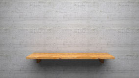 Wood shelve. On concrete wall Royalty Free Stock Photos