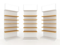 Wood shelve. Design on white background, 3d illustration Royalty Free Stock Photography