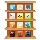 Wood Shelves with Computer Apps Icons. Vector stock illustration