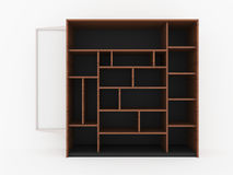 Wood shelves design with blank white promote on white background. 3D Rendering Royalty Free Stock Photography