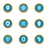 Wood shield icons set, flat style. Wood shield icons set. Flat set of 9 wood shield vector icons for web isolated on white background stock illustration