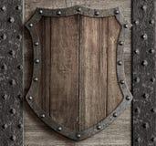 Wood shield on medieval castle gate 3d illustration Stock Photo