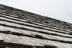 Wood shingle on a roof at an alpine cabin, Austria.  Royalty Free Stock Photography