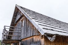 Wood shingle on a roof at an alpine cabin, Austria.  Royalty Free Stock Photo