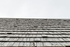 Wood shingle on a roof at an alpine cabin, Austria.  Stock Photo