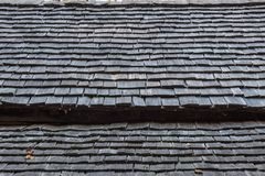Wood shingle roof exterior detail from an old Appalachian log cabin Stock Images