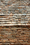 Wood Shingled Roof. Roof Shingles of a Log Cabin Stock Photo
