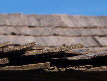 Wood Shingles. Wooden shingles, made by hand, cover the roof of a tobacco barn, held on with hand made wrought iron nails royalty free stock photos