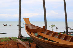 Wood shipbuilding near the sea. Wood shipbuilding near the sea in Thailand stock photos